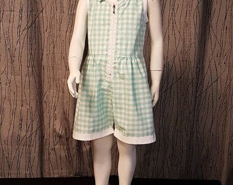 1 white/pale green gingham cotton romper. HAND MADE