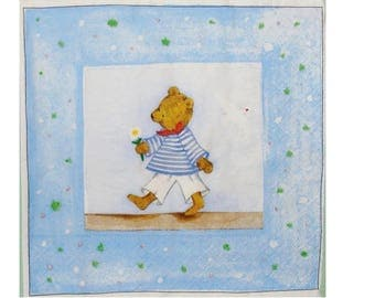 Set of 3 paper napkins OUR005 Teddy bear holding a flower