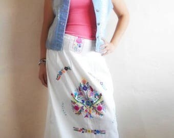 Mexican dress Manta Strapless Iliana MINI CONVERTIBLE maxi skirt Dress,mexican embroidered dress,mexican embroidery