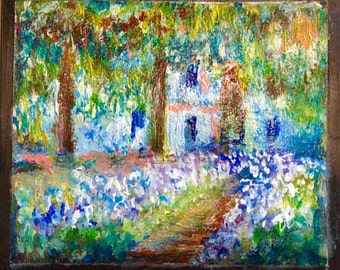 """Picture on a Shungite tile,Claude Monet """"Garden Path at Giverny"""", Healing stone,emf protection,reiki,root chakra balancing"""