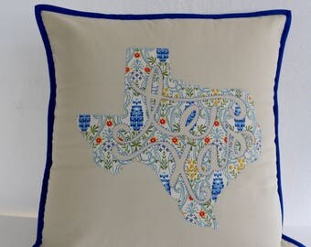 "Bluebonnet Texas Appliquéd Pillow 18""x18"""