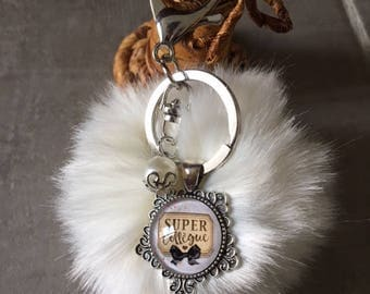 Co-worker - Bag charm with tassel fur cabochon glass 20mm