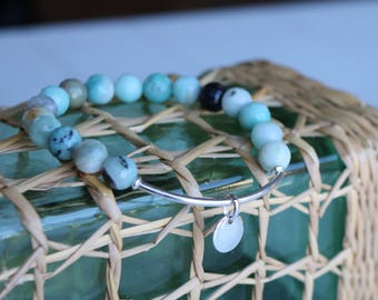 "Women bracelet gemstone bracelet ""Callelongue"" - collection creeks - amazonite and sterling silver - natural gemstone - boho chic - 153."