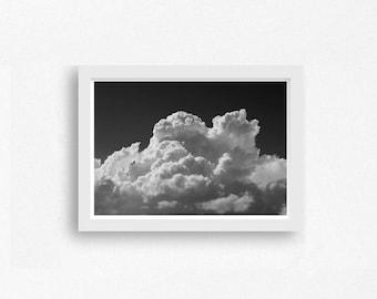 Clouds, Minimalist Photography, Black and White Photography, Cloud Print, Minimalist Wall Art, Printable Wall Art, Modern Decor