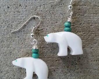 Cute Winter Christmas Polar Bear Drop Earrings  Stone animal Earrings Gift for aunt