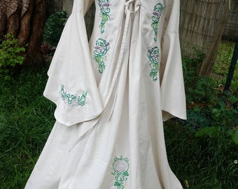 Fantastic medieval fantasy dress, elven dress, Mother Nature gown with train