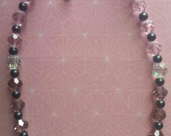 Gradient Pink Crystal Black Pearl Beaded Necklace (SKW GPCBP)