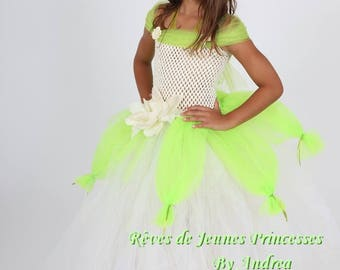 Beautiful Princess Tiana, green and white tulle tutu, stretch bustier