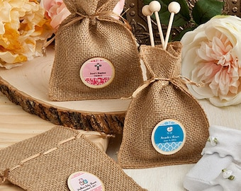 36 Personalized Baby Shower Burlap Favor Bags - Set of 36
