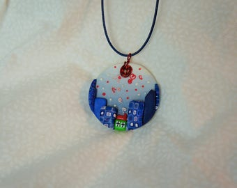 round pendant blue decor city buildings House flakes pendant relief, skyscraper, naive design jewelry necklace, layering