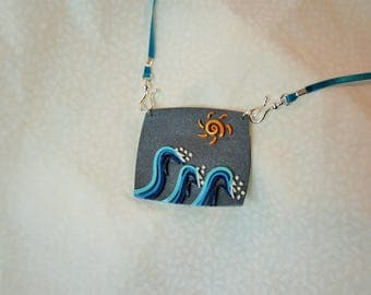 Gray pendant waves blue embossed, hook and Blue Ribbon tie, jewelry, 3D Sun and sea painting, seascape necklace style quilling