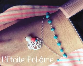 Skull Mexican and precious stones bracelet