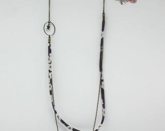 Liberty collection: purple liberty mid-long necklace, Star - offered earrings charm