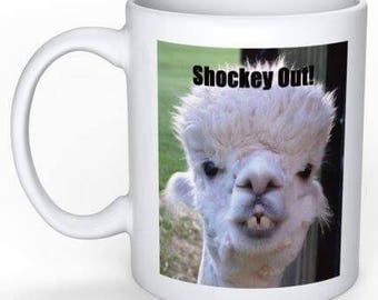 Shockey Out alpaca coffee mug