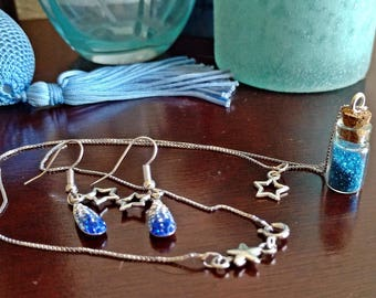Tinkerbell Inspired Blue Pixie Dust Bottle Necklace and Matching Earrings