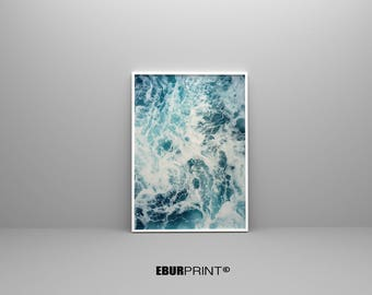 Ocean Print, Ocean Printable Art, Digital Download, Wave Print, Wave Art, Sea Wall Art, Ocean Photography, Surf Print Art, Blue Wall Art