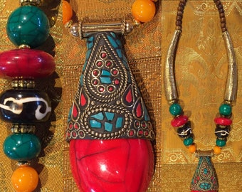 Ethnic red Medallion necklace