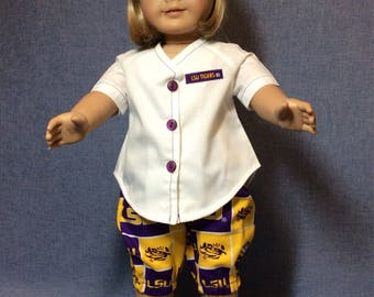 American Girl doll LSU Tigers uniform. Geaux Tigers!