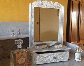 Mirror - vanity - 30s-40s toilet shelf whitewashed effect