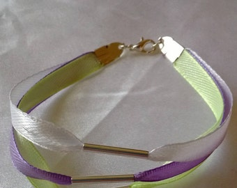 Bracelet Ribbon, 3 rows of pastel colours