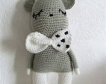 Mimi the gray and white 100% cotton hand crocheted mouse, plush, amigurumi, birth gift
