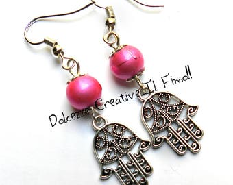 Hand of Fatima earrings with Rose beads - handmade