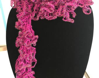 Ladies crocheted ruffle edge scarf
