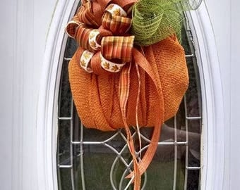 Burlap Pumpkin Door Hanging