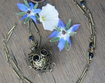 owls and Golden Pearl sound harmony Ball pendant necklace