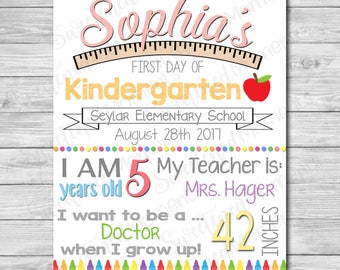 Customizable Digital First Day of School sign - Printable 1st day of school board - Editable Back to school print for boy and for girl