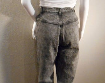 90's jeans Denim Republic/waist 26/ High waisted mom jeans acid wash gray zipper ankles