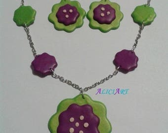 Necklace - Flower Earrings green purple and Pearl