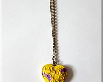 Shades of yellow and purple heart pendant necklace