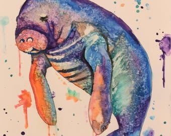 Original Watercolor Manatee