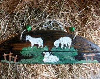 SHEEP - 3 nice sheep painted on reclaimed wood TV series