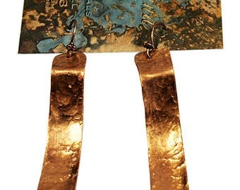 Handcrafted Hammered Copper Earring