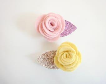 Lovely pair of felt flower hair clips  for babies or little girls, Pick your colors