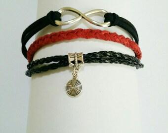 """jewel forever"" bracelet MULTISTRAND red and black"