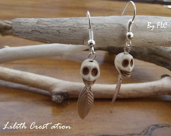 Stone earrings. Howlite skull