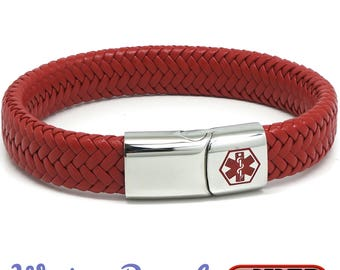 Red Medical Alert ID SOS Bracelet with Soft Waterproof Leather - Personalised, Any Engraving on Front and Back 17 19 21 23cm by REDMEDID