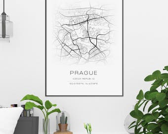 Prague Printable Art City Street Map Coordinates Print Czech Republic Artwork Monochrome Modern Black White Poster Contemporary Downloadable