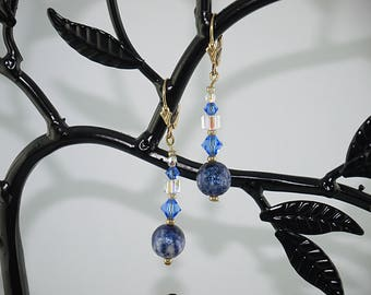 EARRINGS blue t Swarovski clear Crystal and gold-plated