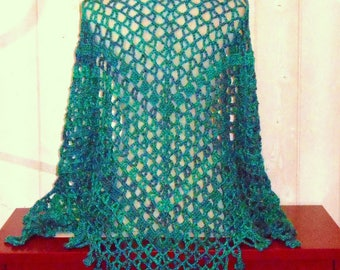 Green crochet shawl