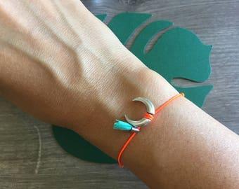 Trendy silver Horn with colorful tassel bracelet