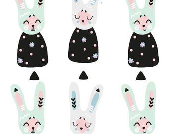 Wall decals sticker decor kids print A3 rabbit ref 362