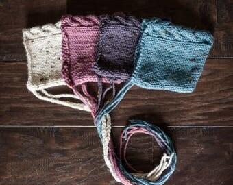 Knit Newborn Pixie Bonnet, Knit Newborn Hat, Cable Knit, Pixie Hat, Photo Prop, Muted Colors, Knit Baby Bonnet, Knit Baby Hat, 4 COLORS