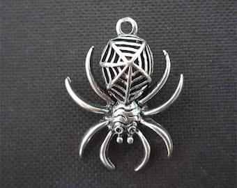 Spider, silver spider pendant, spider charm, silver plated spider, big spider pendant 37x30mm #3443
