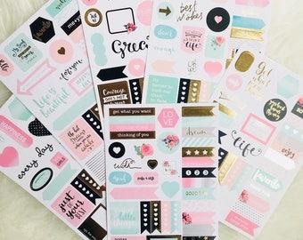 Sticker Set Sticker Planner Accessories scrapbooking Appointment Planner Pink Bow Stationery School