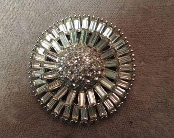 Vintage round faux diamond pin