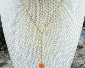 Delicate Carnelian Gold Y Necklace